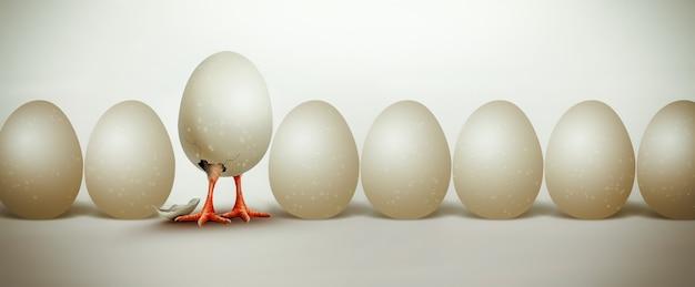 쉘 d 컨셉 디자인 이미지에서 첫 번째 부화 치킨