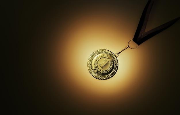 Медаль за первое место на темном фоне