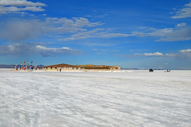 The first salt hotel of uyuni salt flats with the flags of many countries around the world, bolivia