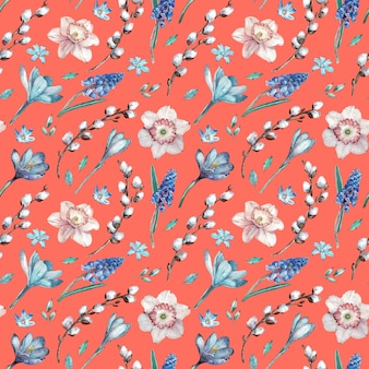 First spring flowers and willow branches. watercolor seamless pattern on living coral background.