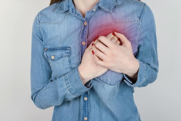心臓の概念に関する問題の最初の症状。灰色の背景のコピースペースで隔離の胸に手をつないで悲しい不幸な動揺の女性のトリミングされたクローズアップ写真