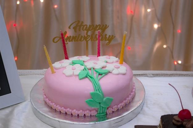 結婚1周年記念ピンクケーキ