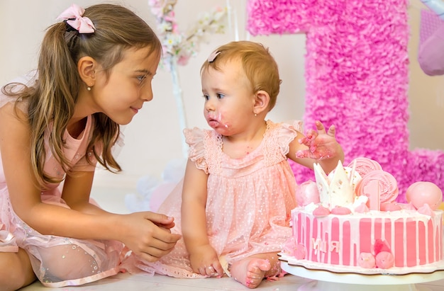 The first year of the baby is a cake. selective focus. child.