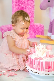 The first year of the baby is a cake. selective focus.