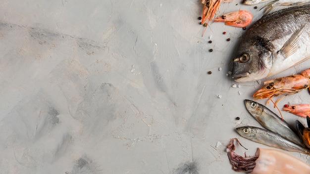 大理石のコピースペースの背景に魚とエビ