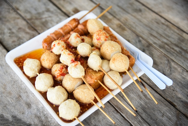 Fish ball and sausage hotdog grilled