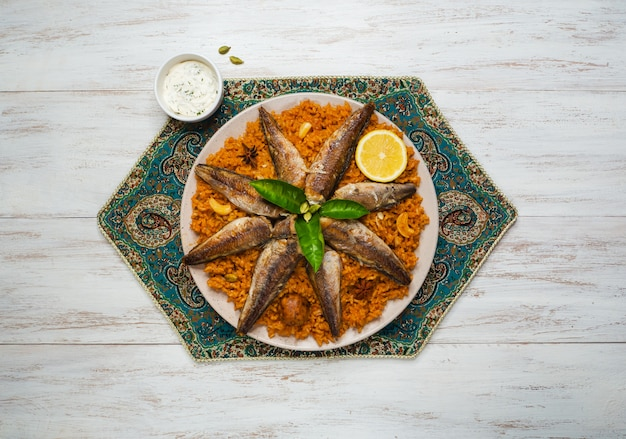 Fish biryani. saudi arabian fish kabsa.