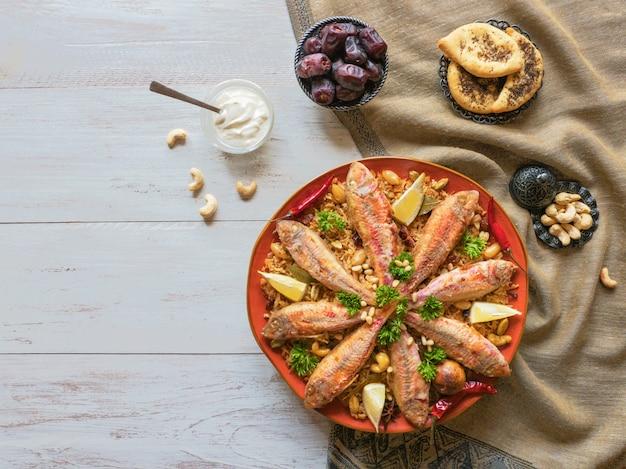Fish biryani. saudi arabian fish
