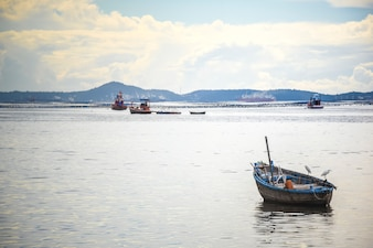 Fish boat in the sea and mountain