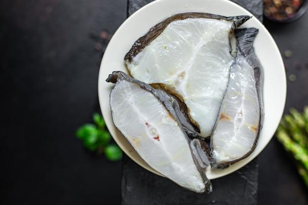 魚ナマズステーキピースシーフードスライス生健康有機食品食事コピースペース食品背景
