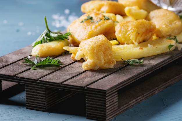 Fish and chips with sauce