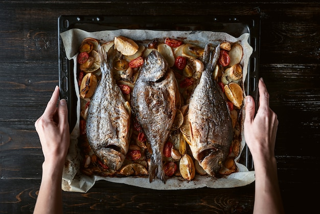 Fish for dinner in female hands baked fish on a baking sheet