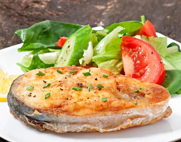 Fish dish - fried fish fillet with vegetables