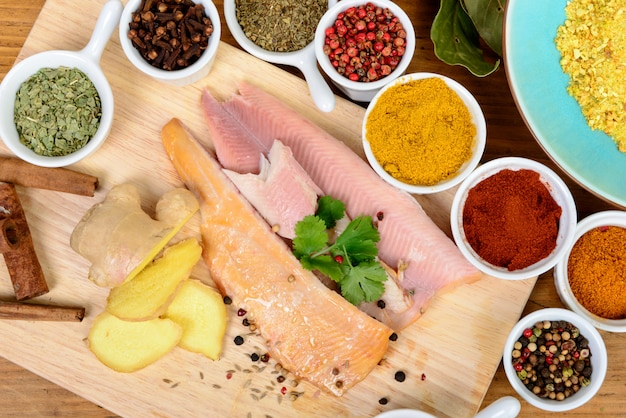 Fish fillet with assortment of spices