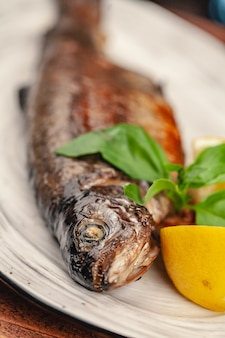 Fish grill dish baked whole grilled on a plate with vegetables and lemon