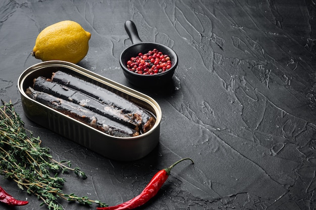 Fish in iron tin can set, with copy space for text