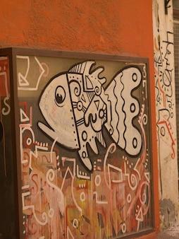 Рыбная роспись на стене в афинах греция