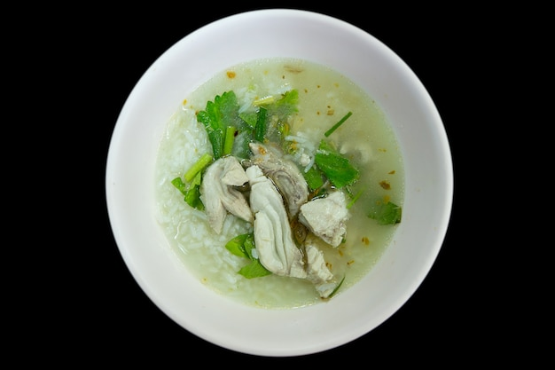 Fish porridge in white bowl.
