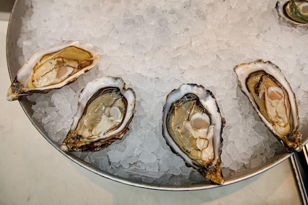 魚料理店。氷の入ったトレイに生牡蠣。