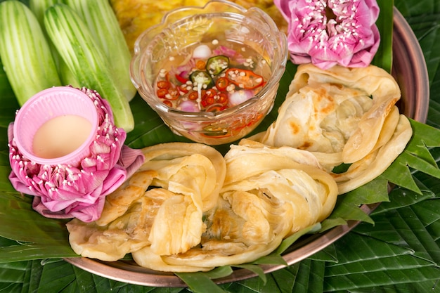 Fish roti mataba (filled roti) . thai desserts