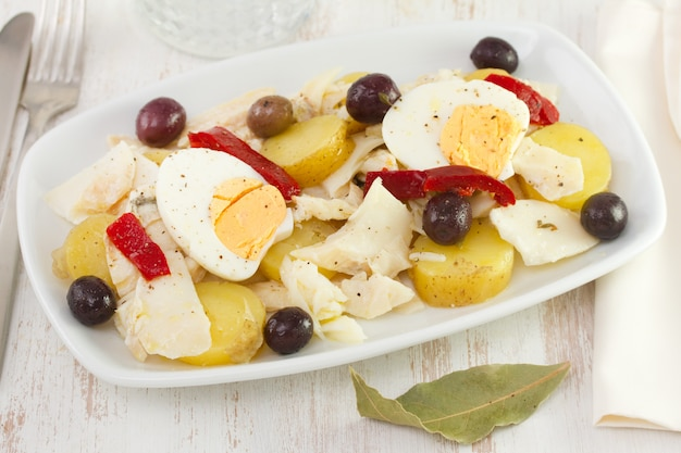 Fish salad with olives
