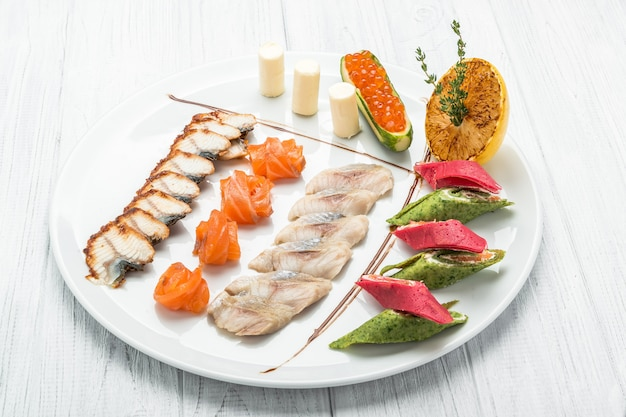 Fish set of salmon caviar and several types of fish