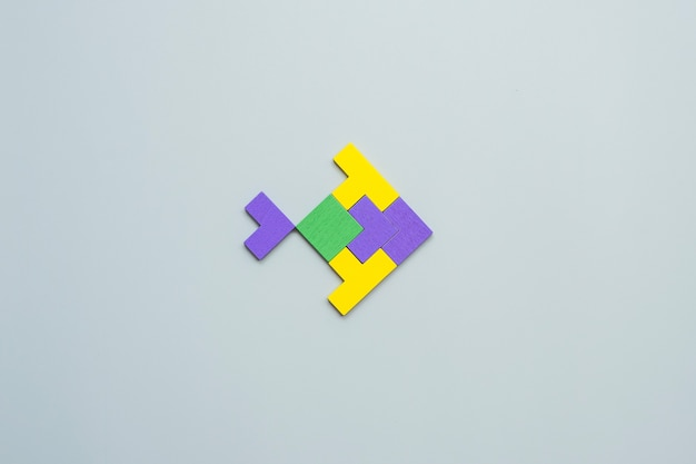 Fish shape block of colorful wood puzzle piece on gray .