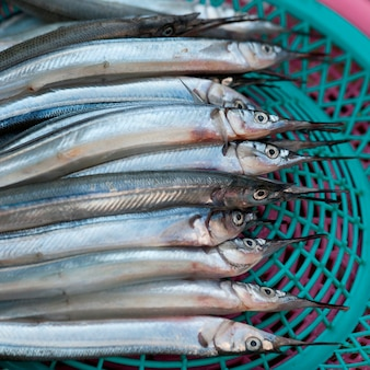 Fish at a stall in a fish market, busan, yeongnam, south korea