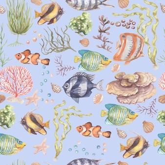 Рыба подводное море океан кораллы водоросли ракушки акварель рисованной иллюстрации. принт текстиль винтаж дикая природа яркая аквариумная рыба патерн бесшовные Premium Фотографии