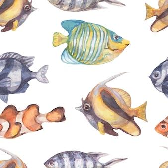 Рыба подводное море океан кораллы водоросли ракушки акварель рисованной иллюстрации. принт текстиль винтаж дикая природа яркая аквариумная рыба патерн бесшовные
