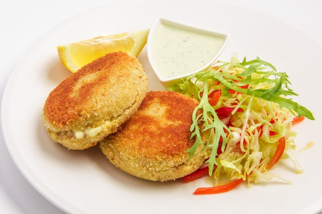 Fishcakes with vegetables