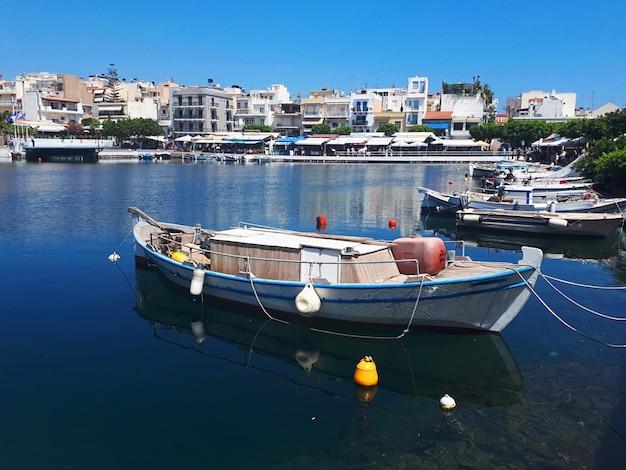 Fisherman boat in agios nikolaos in crete island