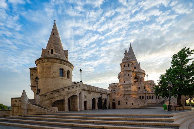 Fisherman's bastion on the buda bank of the danube in budapest city, hungary
