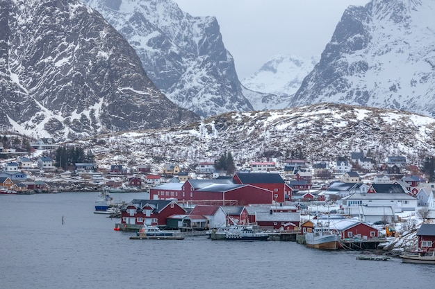 Fisherman's cabins on the lofoten at dawn in winter
