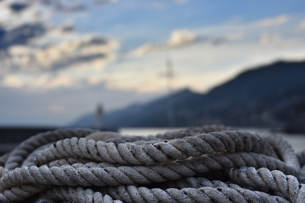 Fisherman's ropes piled up in the small port of camogli in liguria