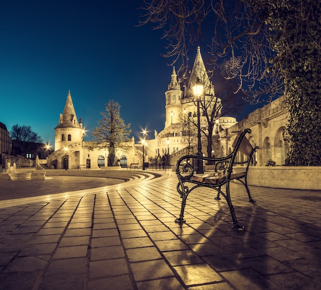 Fishermans bastion in budapest, hungary at night