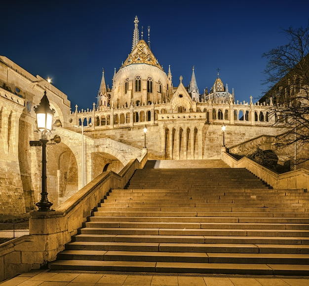 Fishermans bastion at night in budapest