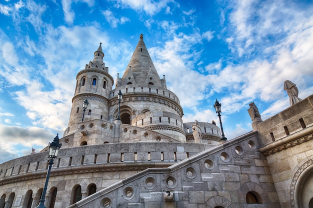 Fishermen's bastion in budapest with blue sky and clouds