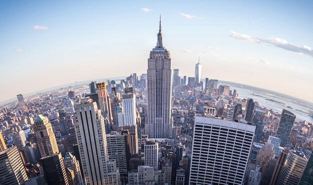 Fisheye aerial view of manhattan in new york city usa skyline panorama at sunset fish eye lens