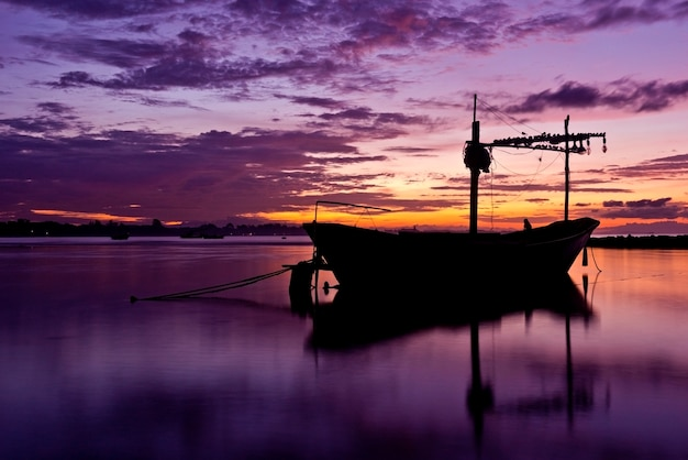 Fishing boat before the sunset in south of thailand