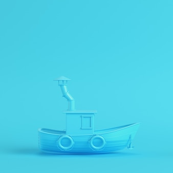 Fishing boat on bright blue background