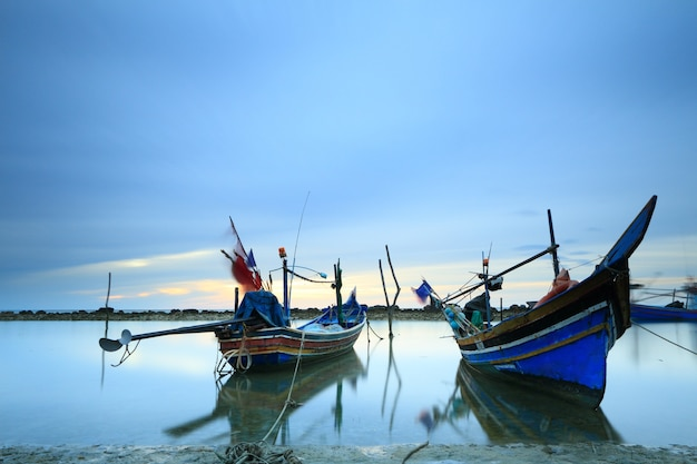 Fishing boats floating by the sea in samui island, thailand