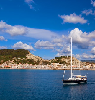 Fishing boats  in the ionian sea in greece