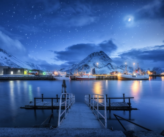 Fishing boats near pier on the sea against snowy mountains and starry sky with moon at night
