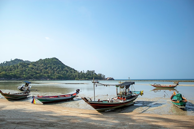 Fishing boats parked on the beach at koh phangan, surat thani in thailand