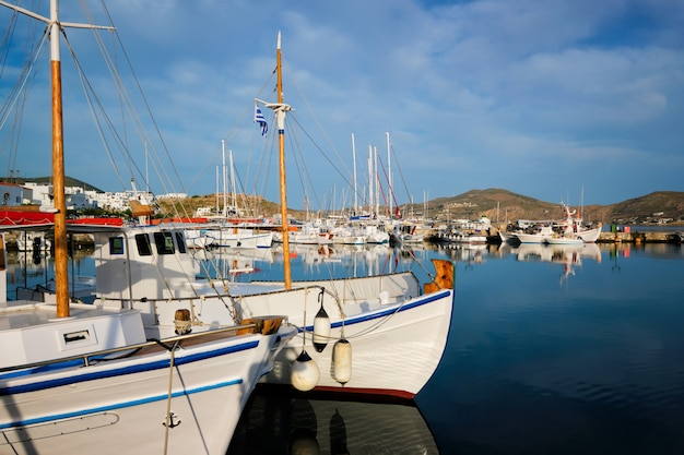 Fishing boats in port of naousa. paros lsland, greece