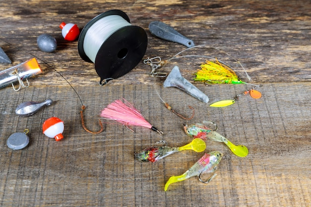 The fishing equipment. fishing hooks hook