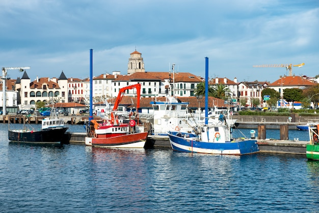 Fishing harbor of st jean de luz in the basque country, france