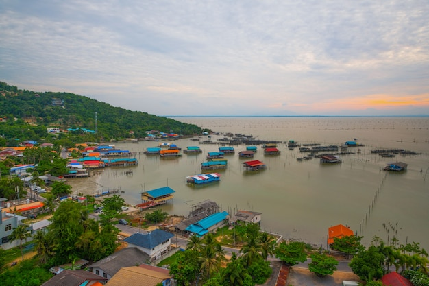 Fishing industry over the lake with fishing village