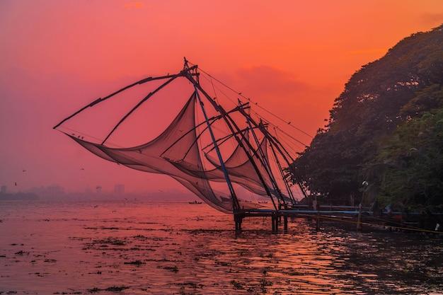 Fishing nets at kerala south india